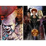 2 Pack DIY 5D Diamond Painting Kits,CCOZN Clown Witch Full Drill Halloween Diamond Painting for Beginner Adults Rhinestone Numbered Diamond Arts Home Wall Decor, 11.8 X 15.8inch