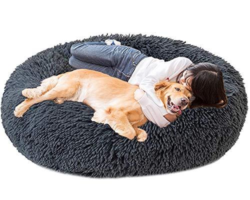 HANHAN Extra Large Calming Dog Bed Orthopedic Donut xxl Cosy Cave xl Comfy Pet Sofa Wicker Medium Jumbo Plush Cushion Sleep Basket Anxiety Washable Mattress dark grey