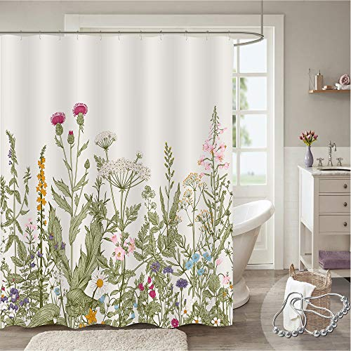 """Gibelle Vintage Floral Shower Curtain, Spring Colorful Wild Flowers Green Herbs Boho Plant Nature Shower Curtain, Cottagecore Aesthetic Shabby Chic Botanical Fabric Bathroom Decor, 54"""" W x 78"""" L"""