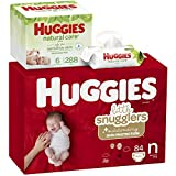 Huggies Brand Bundle – Huggies Little Snugglers Diapers, Size Newborn, 84 Ct & Huggies Natural Care Unscented Baby Wipes, Sensitive, 6 Disposable Flip-Top Packs - 288 Total Wipes (Packaging May Vary)