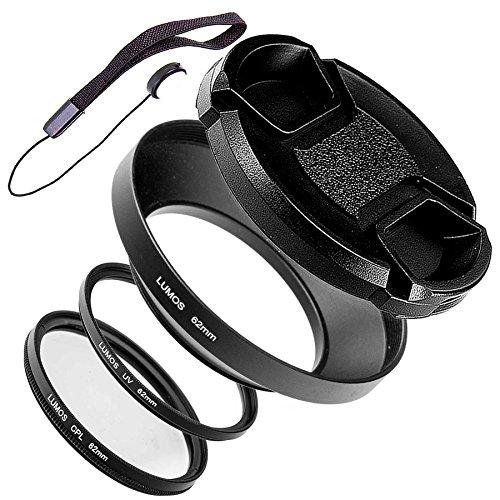 62mm Gegenlichtblende Metall mit Deckel UV Filter Polfilter Objektivdeckelhalter | LUMOS Must Have Weitwinkel Kamera Objektiv Zubehör Set 62 mm