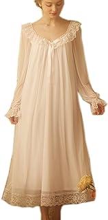 ثوب نوم فيكتوري نسائي طويل شفاف عتيق دانتيل صالة ملابس نوم شبكية قطنية