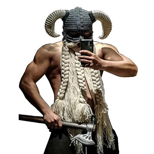 WJH9 Face Shield Schutz Best Men, Vosloda Sicher Full Face The Elder Scrolls Guard Anti Fog Europa und Amerika Gebogene Hörner Bart Hut Lustige Persönlichkeit Hip Hop Vikings,54to56cm