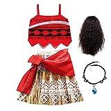 FINDPITAYA Filles Robe de Princesse Cosplay Costume avec Collier et Perruque Déguisement...