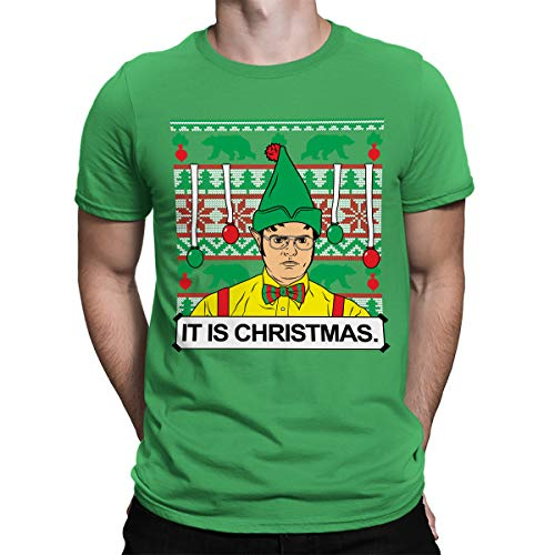 SpiritForged Apparel Dwight It is Christmas Ugly Men's T-Shirt, Kelly Large