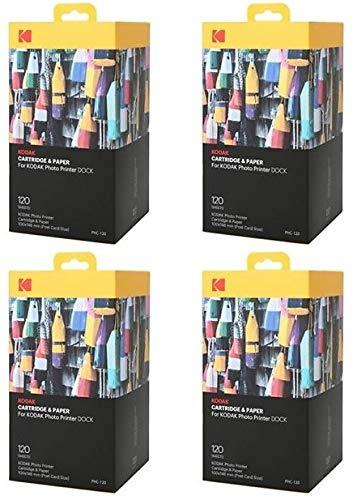 KODAK Papel fotográfico y cartuchos – 4 x PHC 120-480 papeles para impresora Printer Dock-