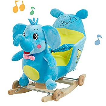 Lucky Tree Baby Rocking Horse Toys Elephant Animal Ride On Boys Girls 2 in 1 Wooded Plush Rocker Chair with Wheels