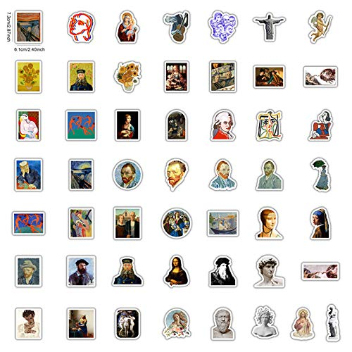 XXCKA Berühmte Künstler Ölgemälde Mona Lisa Aufkleber für DIY Laptop Scrapbooking Graffiti Tagebuch Etikett Briefpapier Dekor Aufkleber 50St