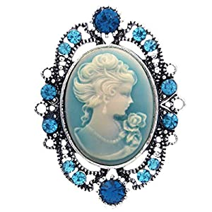 Soulbreezecollection Cameo Brooch Pin Charm Women Necklace Pendant Compatible Rhinestones Fashion Jewelry