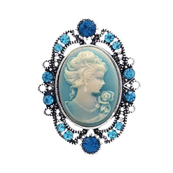 Soulbreezecollection Cameo Brooch Pin Charm Women Necklace Pendant Compatible Rhinestones Fashion Jewelry 3