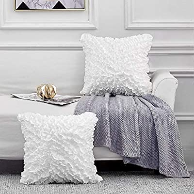 Leeden Throw Pillow Covers 20 x 20 Square Set of 2 Decorative Pillowcase Cusion Cases for Sofa Couch Bed Bedroom Room Chair Car Home Décor Pillow Covers Ultra Soft White,20x20 Inch(50x50cm)