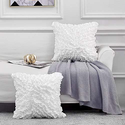 Leeden 18x18 Throw Pillow Covers Set of 2, Decorative Square Boho Pillowcases, White Cushion Cases...