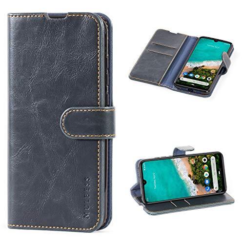 Mulbess Handyhülle für Xiaomi Mi 9 Lite Hülle Leder, Xiaomi Mi 9 Lite Handytasche, Vintage Flip Hüllen Schutzhülle für Xiaomi Mi 9 Lite / A3 Lite Hülle, Navy Blau