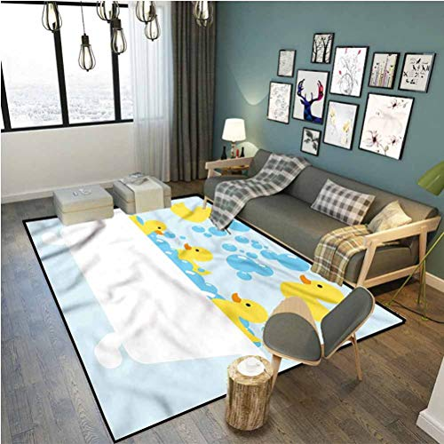 Duckies Anti Fatigue Rug Cozy Color Contemporary Soft Rug Poultry Toys Bubbles Tub 5 x 7 ft