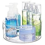 mDesign Base giratoria para cosméticos – Elegante Organizador de Maquillaje para lociones, cosméticos y medicamentos – Plataformas giratorias Redondas para el baño – Transparente