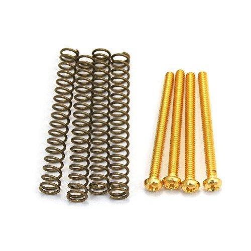 Allparts GS-0012-002 Schrauben mit Federn für Humbucker Tonabnehmer (4 Stück) gold
