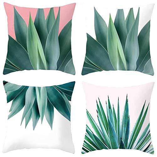 AmDxD Juego de 4 fundas de almohada cuadradas de poliéster, 40 x 40 cm, diseño de plantas de aloe, color verde y rosa