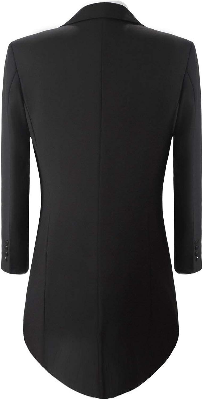 GATMSTZ Men's 3 pcs Tuxedo Suit Magician Long Tail Coat Double Breasted Vest Pants