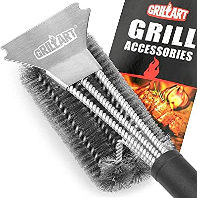 "GRILLART Grill Brush and Scraper Best BBQ Brush for Grill, Safe 18"" Stainless Steel Woven Wire 3 in 1 Bristles Grill Cleaning Brush"