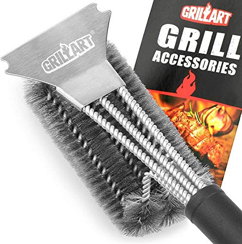 GRILLART Grill Brush and Scraper Best BBQ Brush for Grill, Safe 18' Stainless Steel...