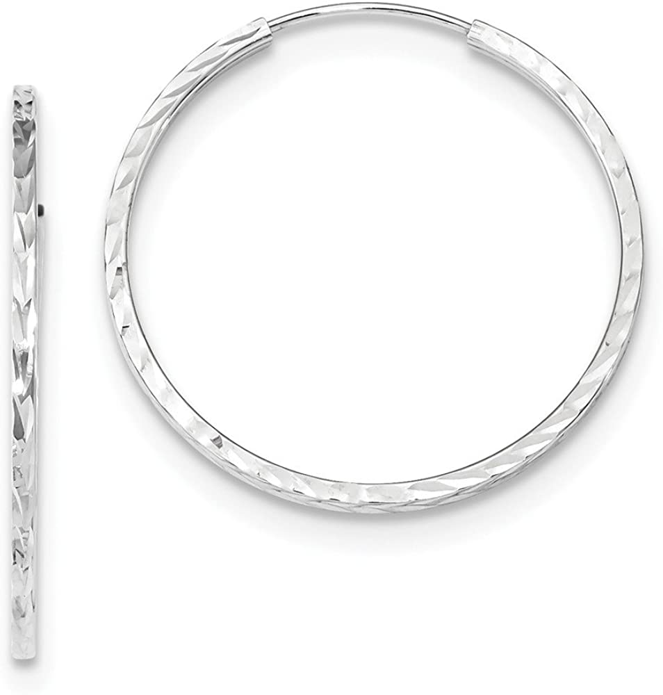 14k White Gold Square Tube Endless Hoop Earrings Ear Hoops Set Round Fine Jewelry For Women Gifts For Her