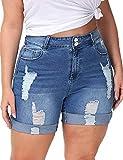 ALLEGRACE Plus Size Jeans Shorts Women Stretchy High Waist Denim Shorts with Pocket Royal Blue 24W