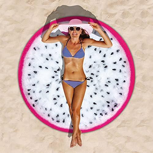 Patrón De Frutas Toalla De Playa Redonda Impresión Digital 3D, Alfombra De Playa De Microfibra, Toalla Absorbente De Secado Rápido, Manta De Playa Sin Borlas 150 * 150cm