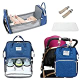 INNOLV Diaper Backpack with Changing Bed,Travel Bassinet Bag with Foldable Changing Station, Portable Baby Diaper Bag with Extendable Folding Crib Large Pad Multi-Functional Include Insulated Pocket