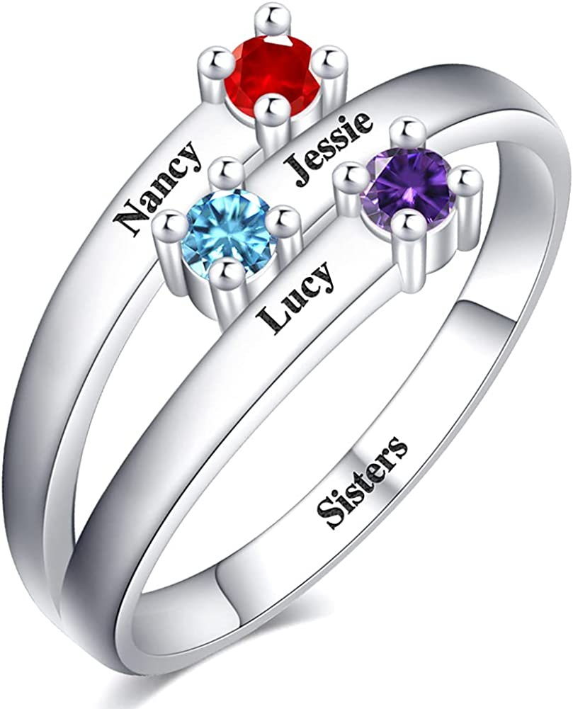925 Sterling 受賞店 Silver Anniversary Ring with 2-6 Birthstones ランキングTOP10 Person