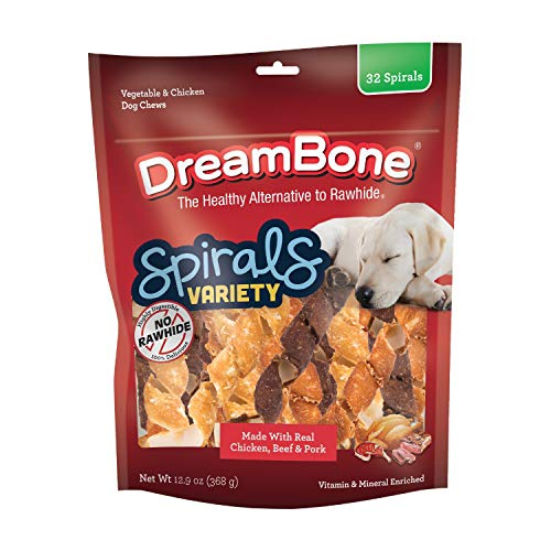 DreamBone Spirals Variety Pack, No-Rawhide Chews for Dogs, 32 Spiral Chews