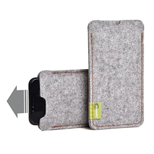 """Almwild® Hülle Tasche passend für Apple iPhone 11 MIT Apple Leder Hülle/Silikon Hülle. BREITES Sleeve. Modell """"Dezenzi"""" Alpstein- Grau aus Natur-Filz. Handyhülle Handytasche in Bayern handgefertigt"""