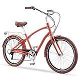 sixthreezero EVRYjourney Men's 26' 7-Speed Speed New Sport Hybrid Cruiser Bicycle, Cherry Shadow, Cherry Shadow w/Brown Seat/Grips, One Size