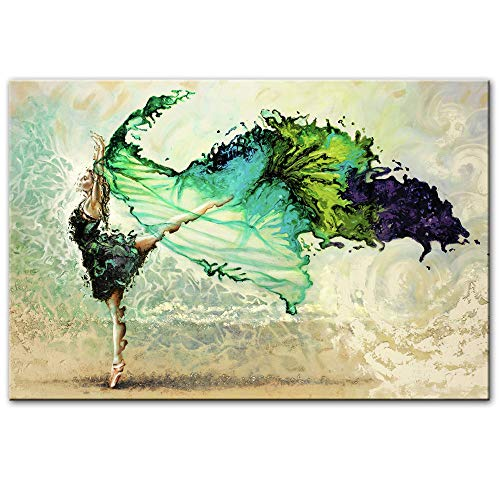Cuadro sobre Lienzo,Hermoso Vestido Verde Danza Creativa Mujer Lienzo Pintura Impresión Póster De Impresión HD Wall Art Modern Pop Arte Imagen De Salón Dormitorio Decoracion,60X90Cm