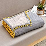 ECRISDOO Muslin Throw Blanket with Pompom, 100% Cotton 4-Layer Breathable Pre-Washed Lightweight Warm Bed Blankets, fit Couch Sofa for All Season, Adults & Kids (Gray with Yellow pom, 60' x 80')