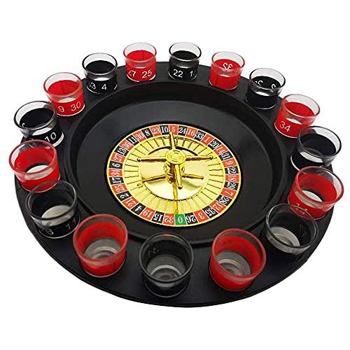 JW-YZWJ Tabla giratoria de Mesa de Vino, Juego de Ruleta de vidrieras multijugador, Familia, Amigos reuniendo Entretenimiento Juego