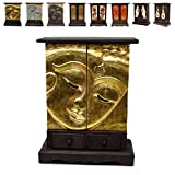 Oriental Galerie Wandschrank Kommode Flurschrank Schubladenschrank Holzschrank Schrank Buddha Gesicht ca. 70 cm hoch Akazienholz Holz Dunkelbraun Gold