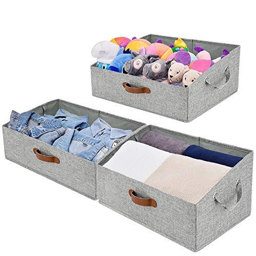 Closet Baskets and Bins for Shelves Fabric Storage Bins Open Storage Basket for Shelves Trapezoid Linen Closet Organizer Decorative Storage Bins for Shelves Home Office Storage Bins 3-Pack