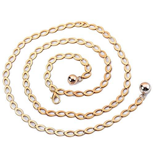 Gouden Zilver Meisjes Taille Ketting Jurk Metalen Riem Vrouw Jurk-Goud-108cm