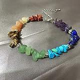 IENPAJNEPQN Pulseras de Cristal de Piedra Chakra Strand Pulseras curativo de Piedra de Cuarzo Natural de la viruta del Arco Iris con Cuentas de Balance meditación Mujeres