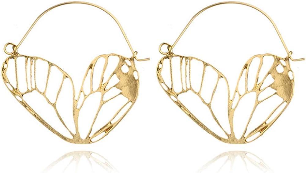 YINLIN Fashion Hollow Animal Butterfly Wings Dangle Hoop Earring