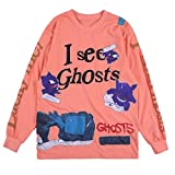 NAGRI Men's Long Sleeve T-Shirt Kanye I See Ghosts Lucky Me Hip Hop Letter Graphic Print Rap Music Tee Shirts Orange