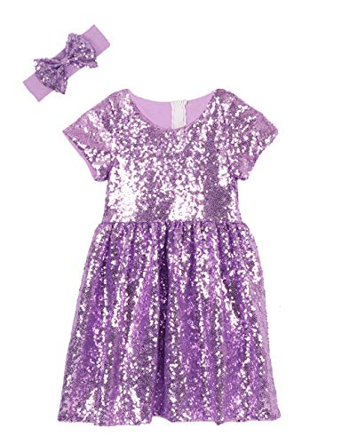 Cilucu Flower Girl Dress Baby Toddlers Sequin Dress Kids Party Dress Bridesmaid Wedding Gown Birthday Dress Lavender Purple 5T-6T