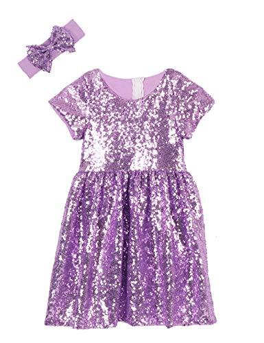 Cilucu Flower Girl Dress Baby Toddlers Sequin Dress Kids Party Dress Bridesmaid Wedding Gown Birthday Dress Lavender Purple 12-24M