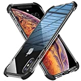 MATEPROX Coque iPhone X Coque iPhone XS Bouclier Super Protégé Couverture de Protection du Téléphone Très Transparent iPhone Boîtier pour 5.8 Pouces iPhone X/XS-Noir