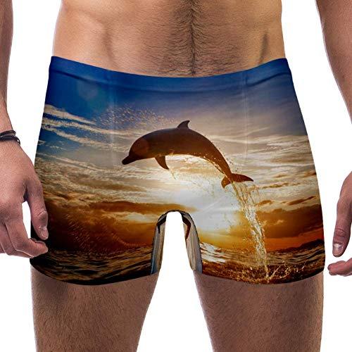 Lorvies Schöner Delphin Shining Sunset Sea Wasser Oberfläche Herren Schwimmen Boxershorts kurz quadratisch Bein Badeanzug schnell trocknend Bademode, Größe S Gr. 56, multi