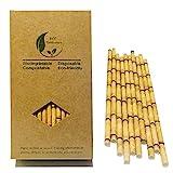 Pajitas de bambú amarillas, biodegradables, para decoración de fiestas, 100 unidades