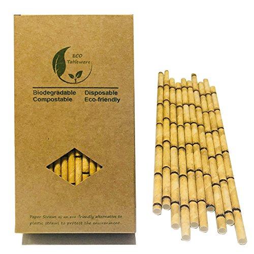 Pajitas de bambú ecológicas amarillas para reemplazar pajitas de plástico, 100 unidades