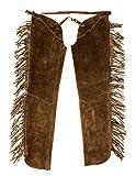 Westernwear Naturleder Chaps mit Fransen braun Lederbeinlinge Lederchaps Chaps für Westernreiten (X-Large) Braun