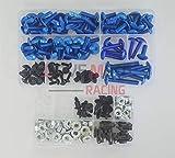 LoveMoto Juegos completos de Tornillos y Tuercas de carenado para CBR 1000 RR 06 07 CBR 1000 RR 2006 2007 Clips de fijación y Tornillos de Aluminio Azul Plata