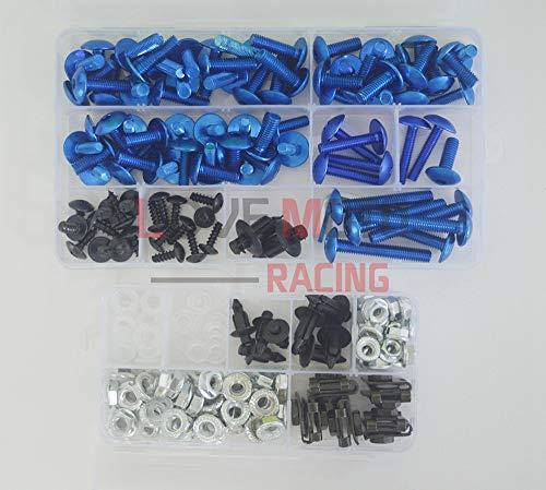 LoveMoto Juegos completos de Tornillos y Tuercas de carenado para CBR 600 RR F5 03 04 CBR 600 RR F5 2003 2004 Clips de fijación y Tornillos de Aluminio Azul Plata